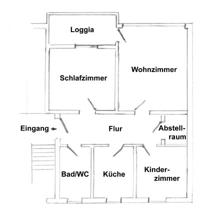 Grundriss einer 3 zimmer, küche, bad - wohnung